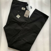 Nwt Men's Size 32x32 Black Flat Front Slicked 3 Casual Pants