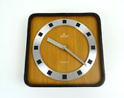 Stunning Original Mid Century 60s Teak And Leather Vintage Wall Clock Byjunghans