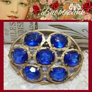 Antique Victorian Sapphire Glass Rhinestone Pin Estate Jewelry Buy-out