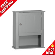 Bathroom Over The Toilet Space Saver Storage Cabinet Shelf Wall Mounted Gray New