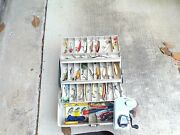 Large Plano Tackle Box Full Of Fishing Lures And New Lew's Classic Pro Reel