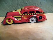 Vintage Circa 1940and039s Marx Tin Windup Red And Yellow Tricky Taxi Vg Cd Working