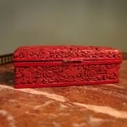 Vintage Chinese Hand Carved Chinoiserie Cinnabar Lacquer Hinged Stamp Box