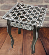 Egyptian Handmade Antique Chess Table Inlaid Mother Of Pearl 16