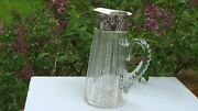 Antique Ny Adelphi Silver Co Sterling Silver Cut Glass Pitcher/jug C.1890-1912
