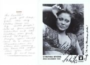 Cynthia Myers Signed Photo And Hand Written Letter 1968 Playboy Playmate J7223