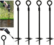 Feed Garden Ground Anchor 18 Inch Heavy Duty Earth Augers With 18 Feet Of Rope F