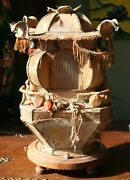 Antique Chinese Japanese Silk Motion Pagoda Table Lamp Light For Restoration