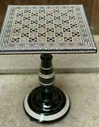 Egyptian Handmade Antique Chess Table Inlaid Mother Of Pearl 18
