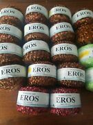 Plymouth Yarn Eros Trellis Ladder Lot Of 18 Multi Color Lots Green Red Gold