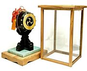 Japanese Taiko Drum Cover Glass Wooden Base Tassel Vtg Collectible Dollhouse