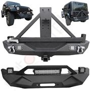 Front Rear Bumper W/ Spare Tire Carrier For 2007-2018 Jeep Wrangler Heavy Steel