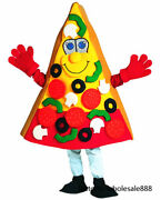 Halloween Pizza Mascot Costume Suits Fancy Adult Size Dress Birthday