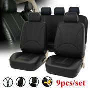 Black Leatherette Car Seat Covers Front Rear Full Set Synthetic Leather Auto A.
