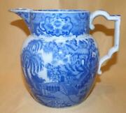 Staffordshire Pearlware Blue And White Chinese Pagodas And Mountains Jug C1800-10