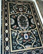 30 X 60 Inches Marble Restaurant Table Pietra Dura Art Dining Table For Home