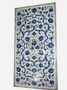 30x60 Inch Marble Dining Table Top With Lapis Lazuli Stone Inlay Work Sofa Table