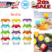 Glass Baby Food Storage Containers With Lids Set Of 12 4 Oz Glass Food Container