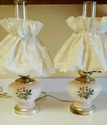 Pair Vintage Gone With The Wind Hurricane Lamps Fabric Shade 3 Way Parlor Lamp