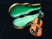French Limoges Violin And Case Trinket Box Limited Edition 047/2000 Pristine 3.3