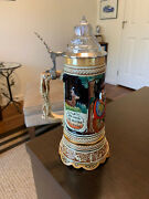 West German Beer Stein With Music Box And Lid