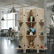 4 Panel Sycamore Screen Wood Room Divider Louver Partition Screen Living Room