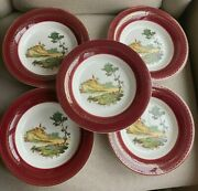 The Sebring Pottery Co Usa Burgundy Chateau France T S562 Warranted 22 K Gold Se