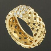 And Co. Vannerie Collection Solid 18k Gold And Diamond Woven Basket Ring