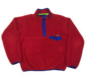 Vintage 80s Plastic Snap T Fleece Pullover Adult Size M/l Maroon / Red
