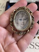 Victorian Brooch 19th Double Photo Locket Swivel Gold Plated Rare Beautiful ❤️