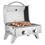 Tabletop Stainless Steel 2-burner Propane Gas Grill Stove Double Row Bbq Outdoor