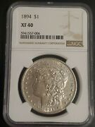 1894 1 Morgan Silver Dollar Ngc Xf40 - Newly Graded So The Holder Is Scuff Free