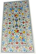 30 X 60 Marble Dining Table Top With Semi Precious Stone Inlay Art Sofa Table