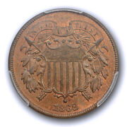 1868 2c Two Cent Piece Pcgs Ms 64 Rb Uncirculated Red Brown Cac Approved Nice