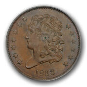 1833 1/2c Classic Head Half Cent Pcgs Ms 64 Bn Uncirculated Cac Approved Nice