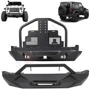 Front Rear Bumper Spare Tire Carrier W/o Oil Drums For 07-18 Jeep Wrangler Jk