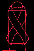 6' X 3' Red Awareness Ribbon Ground Mount Lit With Leds