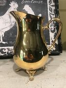 Vintage International Silver Company Footed 24k Gold Plated Water Pitcher