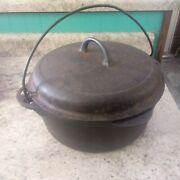 Vintage Griswold Cast Iron Dutch Oven No 8 With Lid And Handle