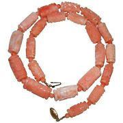 Amazing Chinese Natural Coral Carved Shou Longevity Barrel Bead Necklace