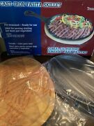 Texas Style Cast Iron Fajita Skillet Set Pan For Sizzling Hot Meat And Vegetables