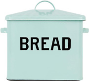 Creative Co-op Enameled Metal Distressed Bread Box With Lid, Blue