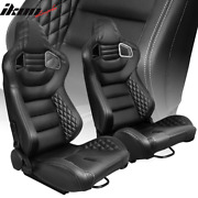 Universal Pair Reclinable Racing Seat Dual Slider Pu Carbon Leather Grey Stitch