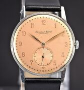Vintage Schaffhausen Cal.62 Salmon Dial Steel 34mm Case 40and039s Mens Watch