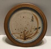 Vintage Mcm Studio Pottery Plate Floral Weed Flower 1970and039s Era Signed
