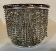 Bath And Body Works Silver Rhinestone Chain Pedestal Large 3 Wick Candle Holder