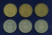 Denmark 1 Krone Coins 1925 2 1939 1962 1965 1969 Group Lot Of 6
