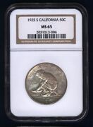 U.s. 1925-s California Half-dollar Silver Uncirculated Coin Certified Ngc-ms65