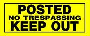 Posted, No Trespassing, Keep Out Sign, 6 X 15 Yellow And Black - Pack Of 6 Signs