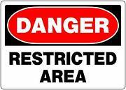 Danger Restricted Area Aluminum Sign, 10 X 14-in, Bold Red And Black, Pk / 6 Signs